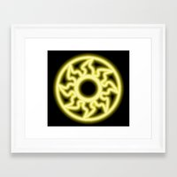 magic the gathering Framed Art Prints featuring Magic the Gathering, Neon White Mana by Thorn Blackstar