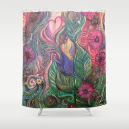 He Loves Us : Best friend with flowers Shower Curtain