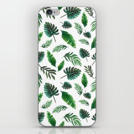 palm leaf print, tropical watercolor iPhone Skin