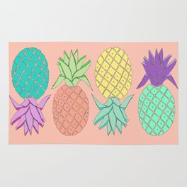 pineapple large coral Rug