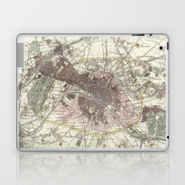 Vintage Map of Paris France (1883) Laptop & iPad Skin