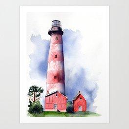 Assateague Light Watercolor and ink Painting Art Print