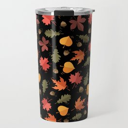 Autumn Leaves Pattern Black Background Travel Mug