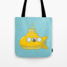 Yellow submarine with a cat and bubbles Tote Bag