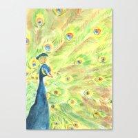 peacock Canvas Prints featuring Peacock by Annie Mason
