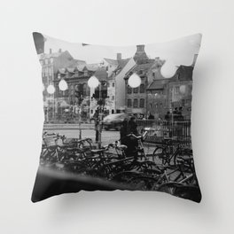 Copenhagen street scene,view from cafe, black and white Throw Pillow