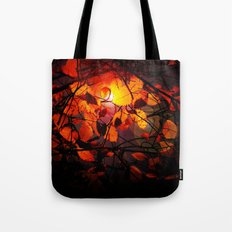 Red and Golden Birch Leaves Tote Bag