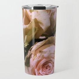 Shabby Chic Soft Peach-Pink Roses Travel Mug