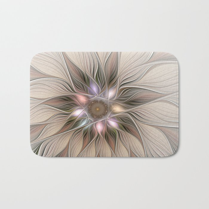 Joyful Flower, Abstract Fractal Art Bath Mat