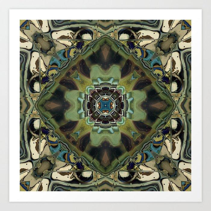 Marbled Moss Mandala Art Print