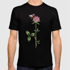 Red clover pattern Mens Fitted Tee Black LARGE