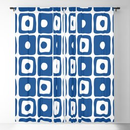 Mid Century Square Dot Pattern Blue Blackout Curtain