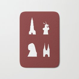 Delft silhouette on red Bath Mat