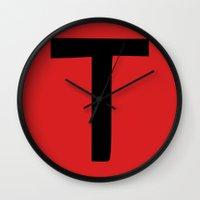 true blood Wall Clocks featuring T is for True Blood by Blank & Vøid