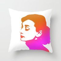 audrey Throw Pillows featuring Audrey by Bright Enough💡