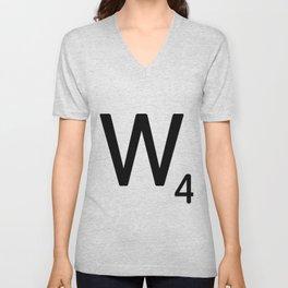 Letter W - Custom Scrabble Letter Tile Art - Scrabble W Initial Unisex V-Neck