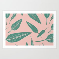 Leaves pink Art Print