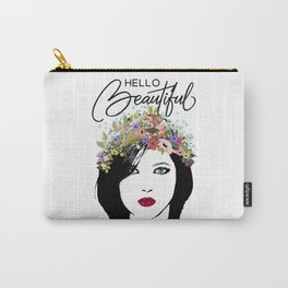 Hello Beautiful Woman and Flower Crown Carry-All Pouch