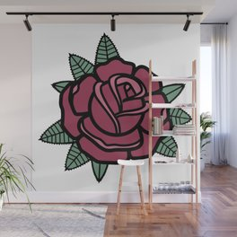 Traditional Red Rose Wall Mural