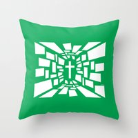 christian schloe Throw Pillows featuring Christian Cross by politics