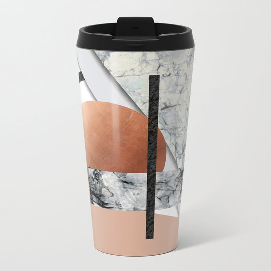 Collage II ( marble, copper, volcanic rock) Metal Travel Mug