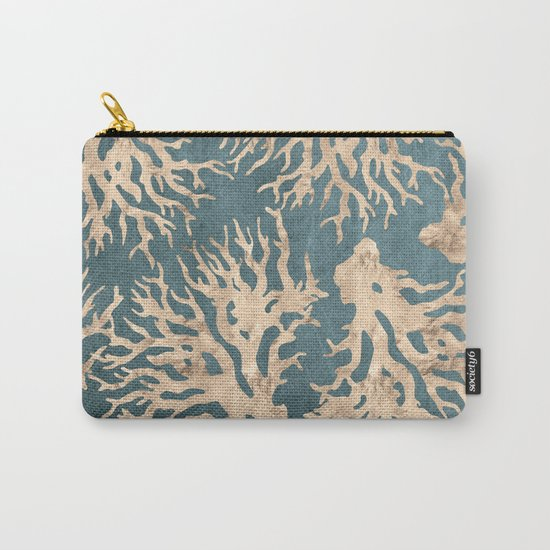 Coral teal - scratched leather Carry-All Pouch