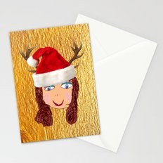 Gold Christmas   Kids Painting   Christmas Spirit Stationery Cards