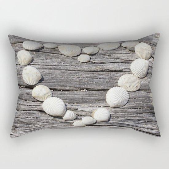 Shell Heart on driftwood Rectangular Pillow