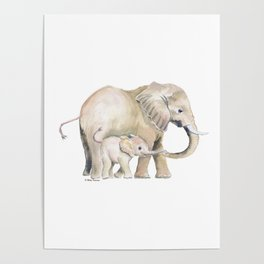 Mom and Baby Elephant 2 Poster