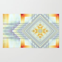 Fractal Art- Religious Cross- Native American- Yellow Art- Illuminative- Orange Art- Rug