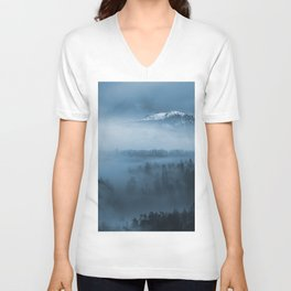 Mountains and fog. Unisex V-Neck