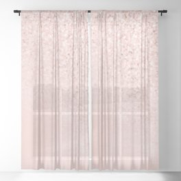 She Sparkles Rose Gold Pastel Light Pink Luxe Sheer Curtain