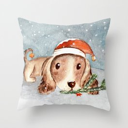Christmas Puppy Look Throw Pillow