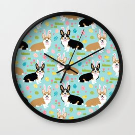 Corgi easter dog breed pattern pet art tricolored and red corgis easter portrait Wall Clock