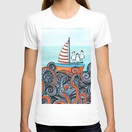 Seagull and little boat T-shirt