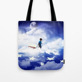 Star Boy Pulling Little Red Wagon Tote Bag