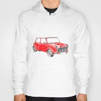 mini cooper Hoodies featuring Red Mini Cooper by Meg Ashford