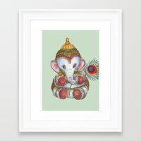 ganesh Framed Art Prints featuring Ganesh by coconuttowers