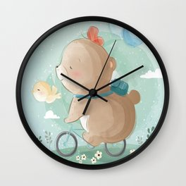 Baby Boy Bear on Bicycle Wall Clock