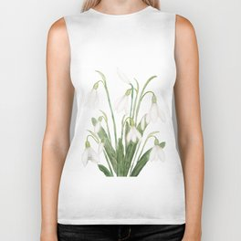 white snowdrop flower watercolor Biker Tank