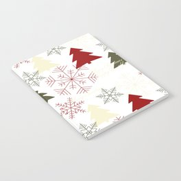 Christmas pattern with gift boxes and snowflakes. Notebook