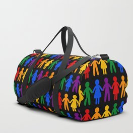 Rainbow People Pattern (black background) Duffle Bag