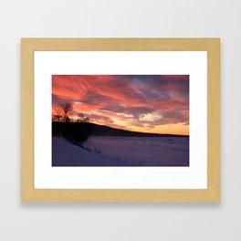 Wintry Sunset over the Porkies Framed Art Print