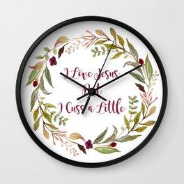 I Love Jesus, But I Cuss A Little Wall Clock