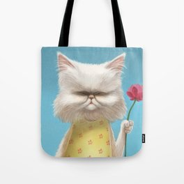 A cat holding a flower Tote Bag
