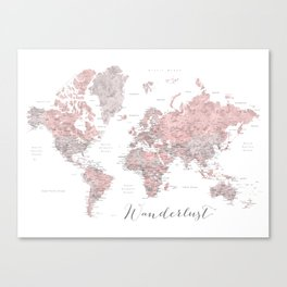 Wanderlust - Dusty pink and grey watercolor world map, detailed Canvas Print
