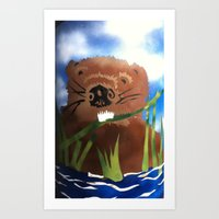 beaver Art Prints featuring Beaver by LorraineImwoldart