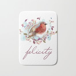 Robin - Bird Watercolor Bath Mat