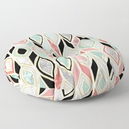 Patchwork Pattern in Coral, Mint, Black & White Floor Pillow