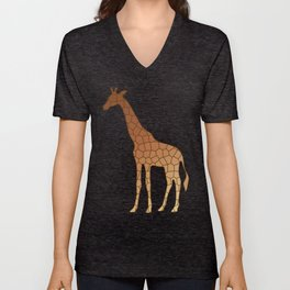 Modern Geometric Giraffe Copper and Brown Unisex V-Neck